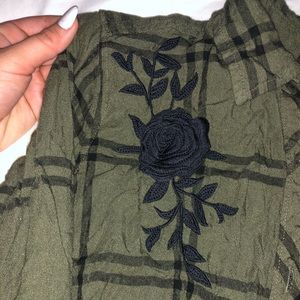 Tops - Green Plaid Flannel with Black Rose Detail